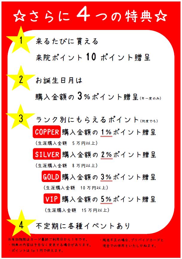 岡崎アームズ整骨院のプリペイドカード特典表